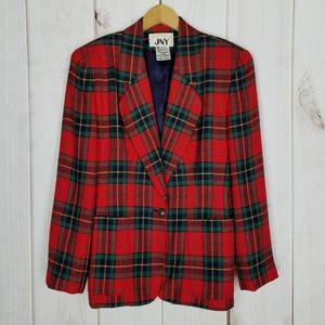 Vintage Jones New York Plaid Christmas Blazer - 6